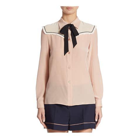Blouse Miumiu 2w miu miu silk crepe de chine tie neck blouse nudevotion