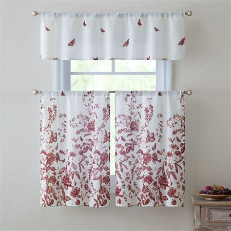 red kitchen curtain sets estela 3 piece kitchen curtain set red valance 57x15