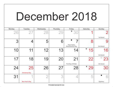 printable calendar 2018 with holidays december 2018 calendar printable with holidays pdf and jpg
