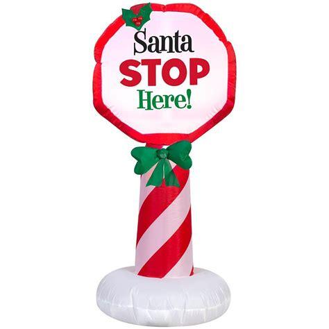 quot santa stop here quot peppermint pole sign pre lit