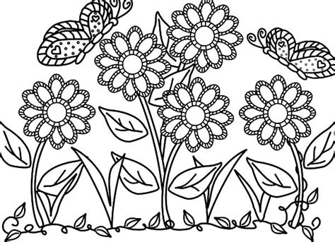 butterfly flower garden colouring pages butterfly flower garden