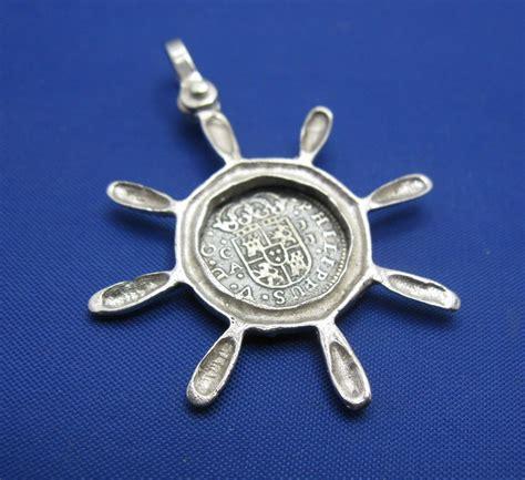 sterling silver captain ship wheel pirate cob replica pendant