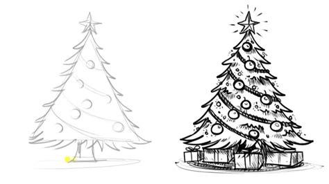 christmas tree drawing black and white find craft ideas