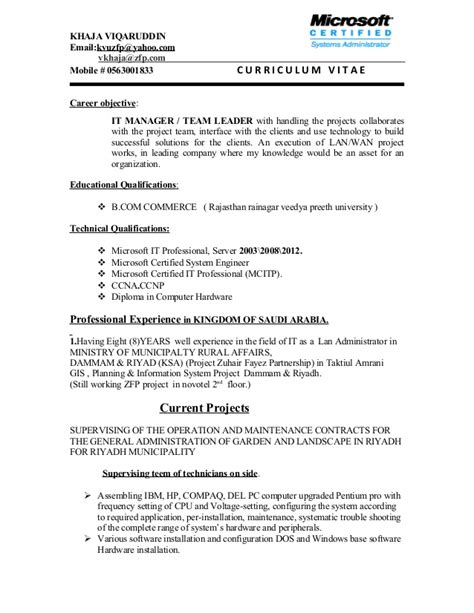 Sample Resume Objectives For Team Leader by It Manager Team Leader C V