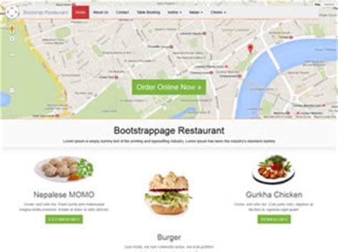 bootstrap templates for restaurant free bootstrap restaurant free website template free css