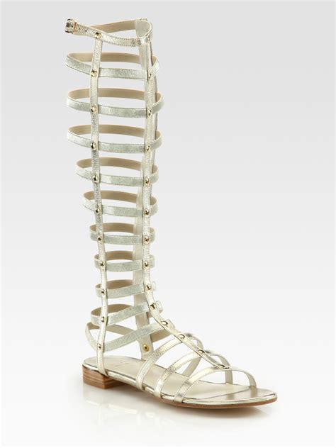 gold gladiator sandal stuart weitzman gladiator metallic leather sandals in