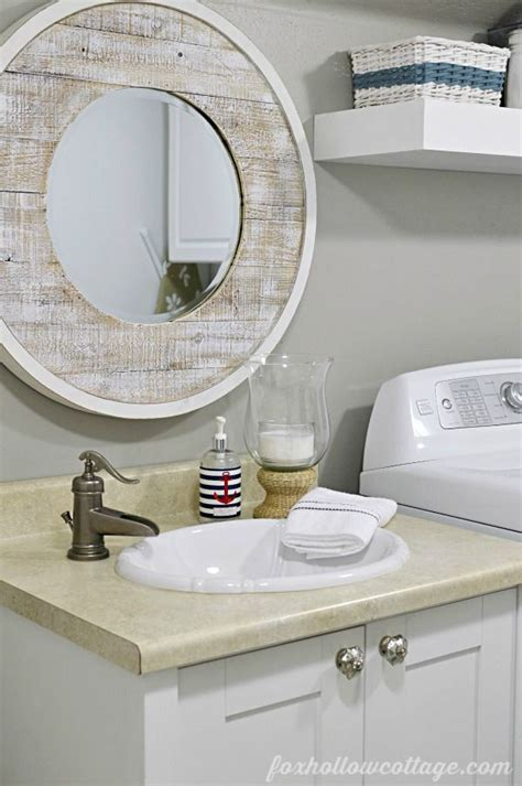 nod to nautical bathroom makeover reveal vanity mirrors