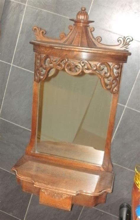 antique rococo oak wood vintage wall mirror with