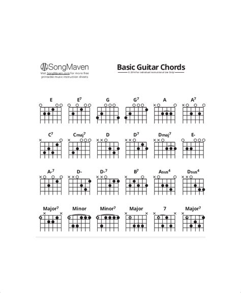 acoustic guitar chord chart acoustic guitar chord chart template 5 free pdf