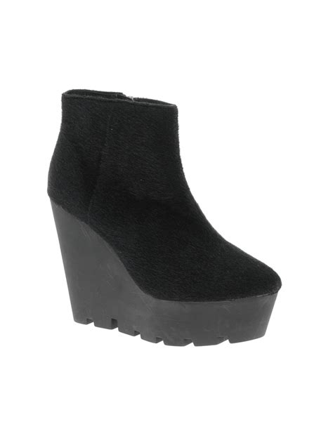 cheap monday monolit pony wedge ankle boots in black lyst