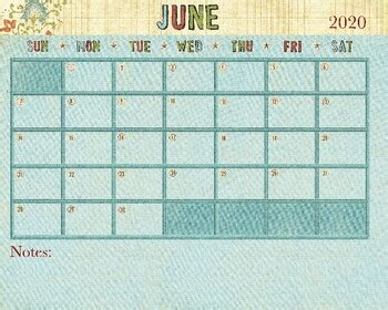 june  calendar   drawn  learn teachers pay