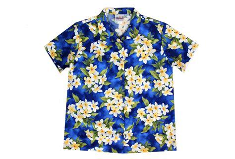 blue hawaiian womens blue hawaiian shirt with plumeria