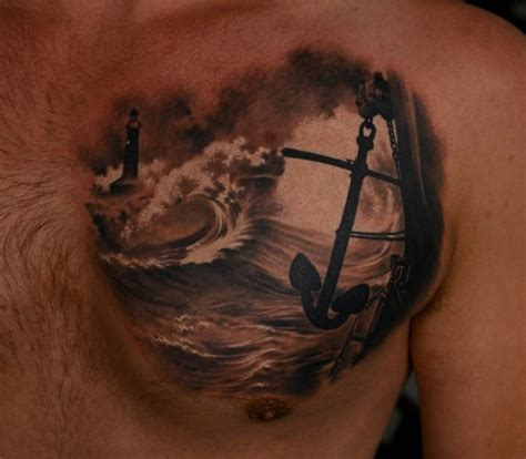 realistic tattoos for men ship images designs
