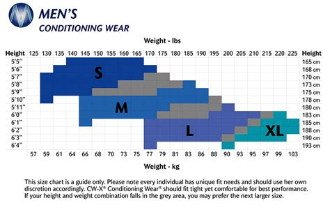 Compression Tight Cw X Generator Size M cw x size charts cw x conditioning wear australia