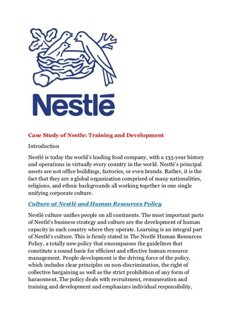 email format nestle case study of nestle training and development