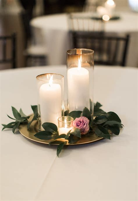 Candle Wedding Centerpiece Purple And Greenery Centerpiece Candle And Flower Centerpieces
