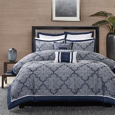 navy comforter queen madison park medina navy comforter set 10070334 hsn