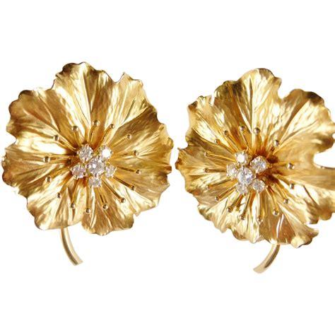 Handmade Diamonds - vintage 14k floral large handmade earrings from