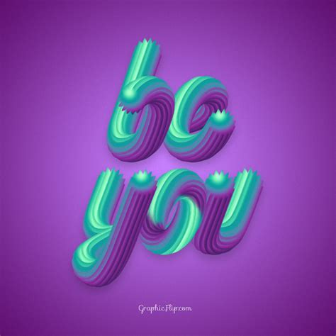 typography 3d be you quote poster with colorful 3d typography effect graphicflip