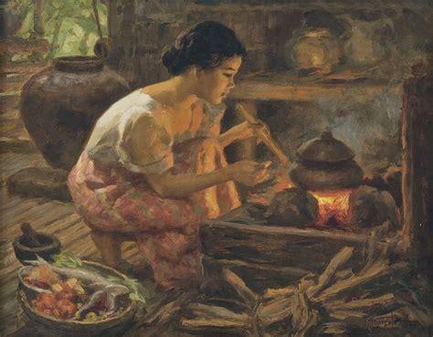 Biography Of Filipino Artist | fernando cueto amorsolo girl preparing a meal signed