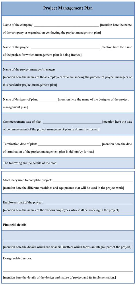 plan template for project management exle of project