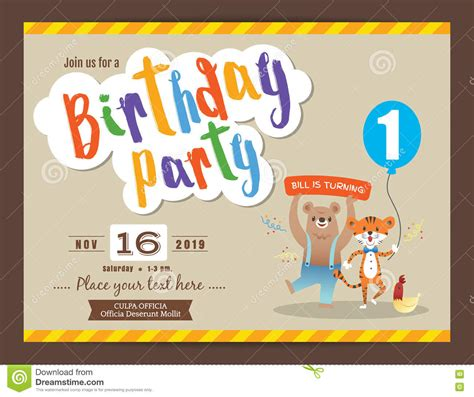 template birthday card illustrator happy birthday party card design template stock vector