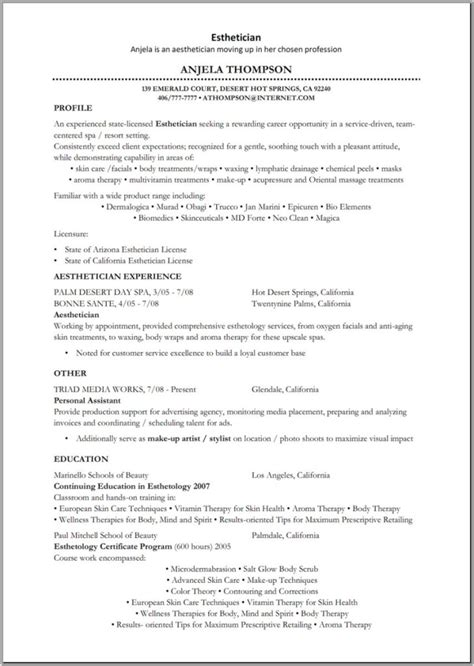 Esthetician Resume Template by Esthetician Sle Resume Best Resume Gallery