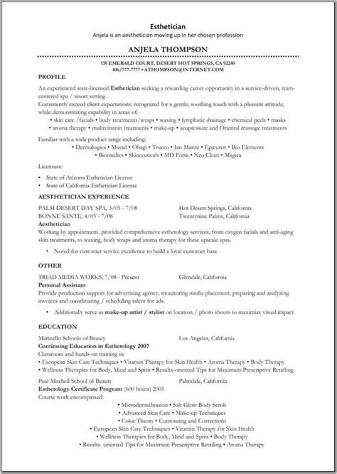 esthetician resume sle no experience esthetician sle resume best resume gallery