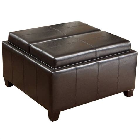 storage ottoman tray top trent home bordeaux tray top storage ottoman in espresso