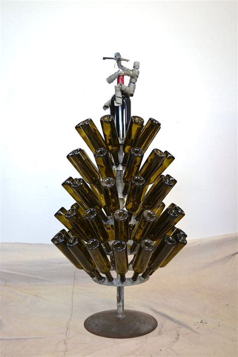 christmas tree made from wine bottles wine bottle tree small w wine bot topper made from napa wine barrel rings 100