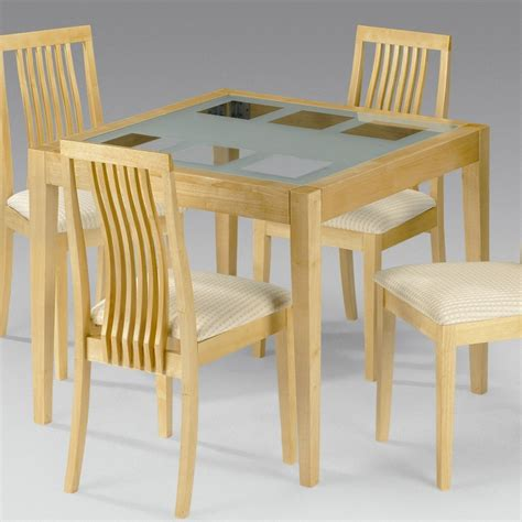 Dining Table And Chairs Designs Brown Glossy Oak Wood Based Dining Table Using Glass Table Top On White Blue Striped