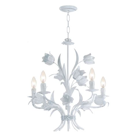 White Chandelier Southport 5 Light White Floral Chandelier