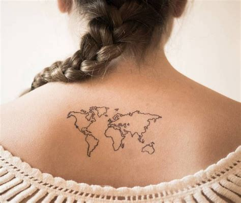 world map tattoo world map on the back artist maril 243