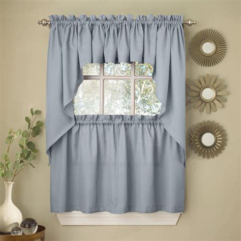 valance curtains for kitchen light blue opaque solid ribcord kitchen curtains choice of tier valance or swag ebay