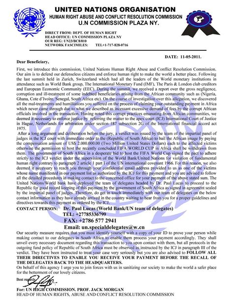 Thank You Letter United Nations spam scam the united nations organisation wants to