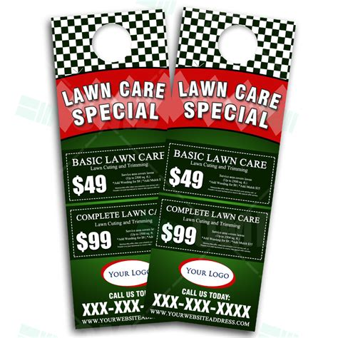 lawn care door hanger design eye catching landscaping