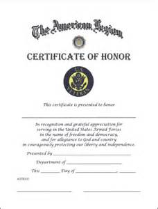 of honor template veteran certificate of honor american legion flag emblem