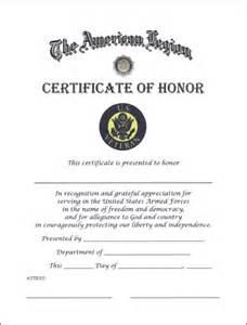 Veteran certificate of honor american legion flag amp emblem