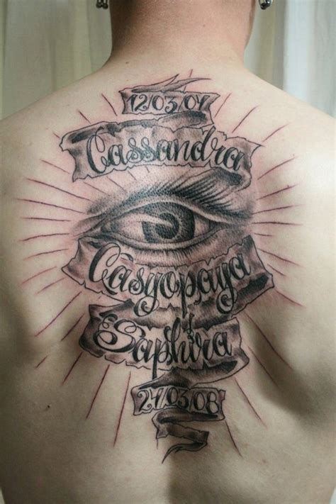 massive black and white memorial lettering tattoo on whole