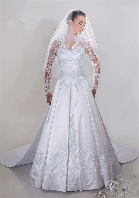 Lange Hochzeitskleider by Brautkleid Abnehmbare Schleppe Und Lange 196 Rmel