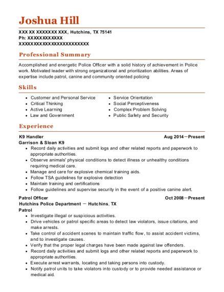 K 9 Handler Resume by Best K9 Handler Resumes Resumehelp