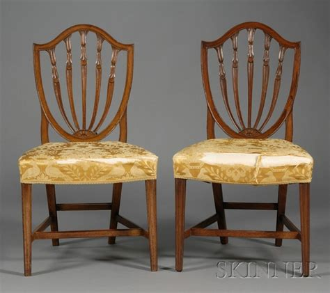 hepplewhite shield back chairs pair of hepplewhite carved mahogany shield back chairs