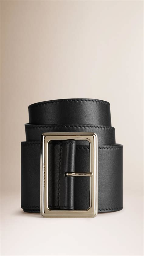 burberry wide leather belt in black lyst