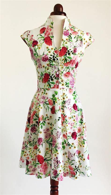 Summer Dress Vintage Look flower dress floral dress summer dress vintage style dress mid length dress cotton