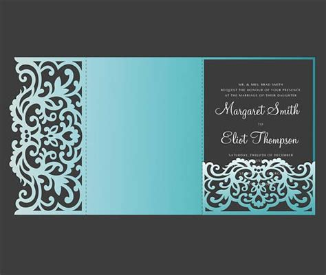 Tri Fold Pocket Envelope 5x7 Wedding Invitation Dxf Svg Eps Template Laser Cut File For 5x7 Tri Fold Template