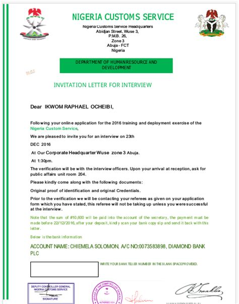 Evaluation Letter Nigeria n c s invitation letter letter vacancies nigeria
