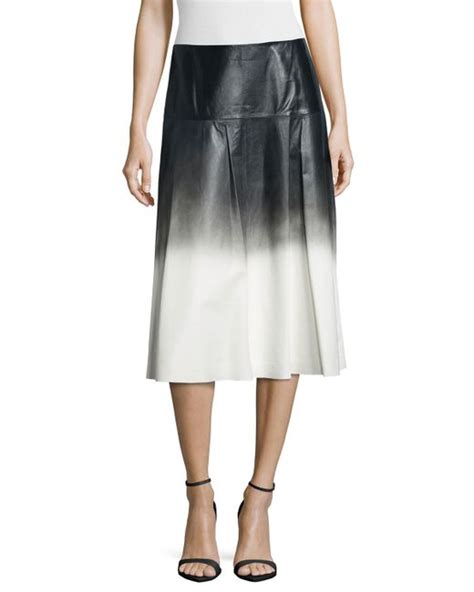 lafayette 148 new york jessa ombre leather skirt in white