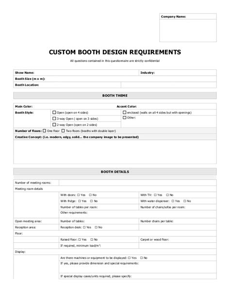business requirements questionnaire template booth design questionnaire