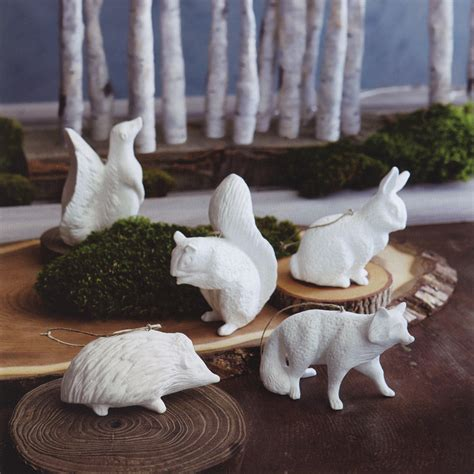 animal tree ornaments porcelain 5 white forest animals tree