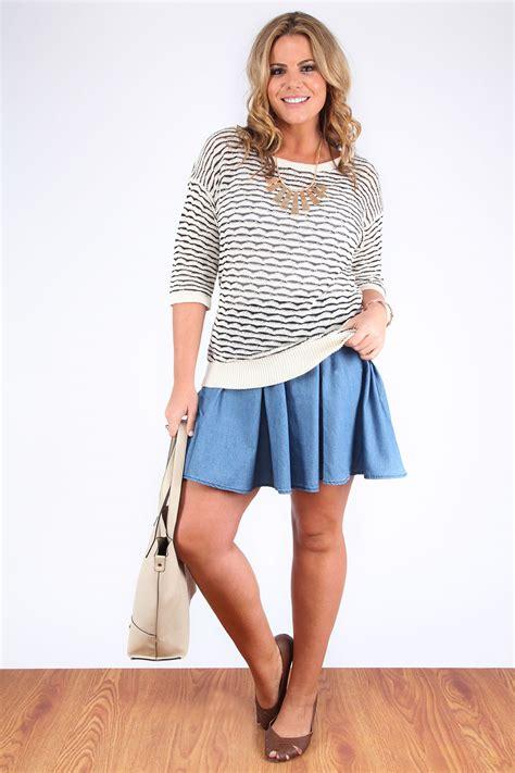 light blue denim look skater skirt plus size 16 18 20 22